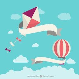 Cartoon kite and balloon