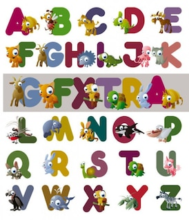 cartoon letters of the alphabet   vector
