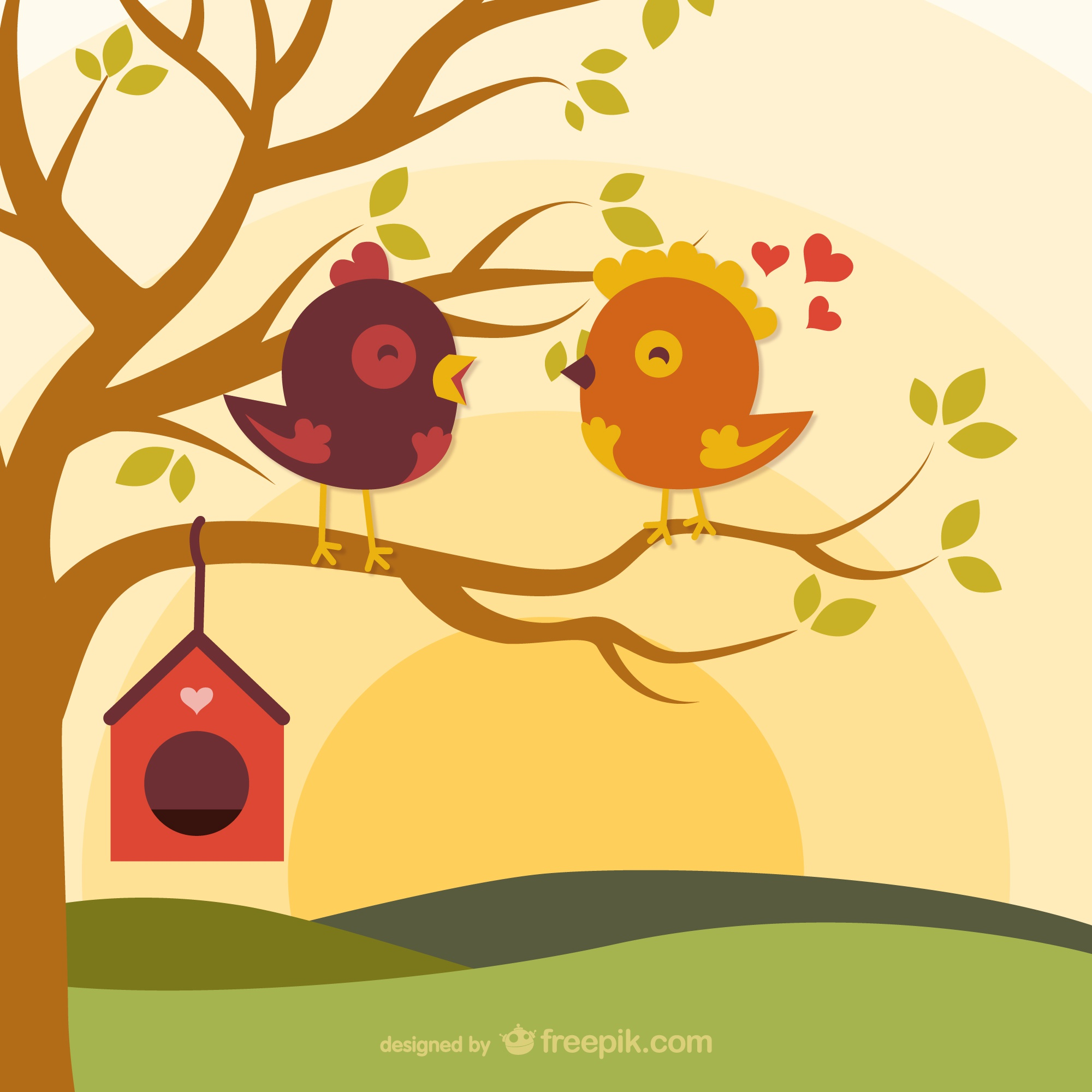 Cartoon love birds on branch