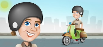 Cartoon man on scooter vector character