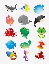 cartoon marine animals vector material