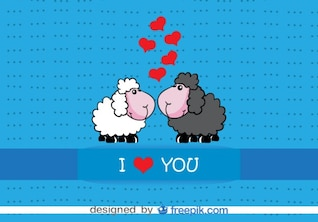 Cartoon Sheep Kissing Valentine's Card Design