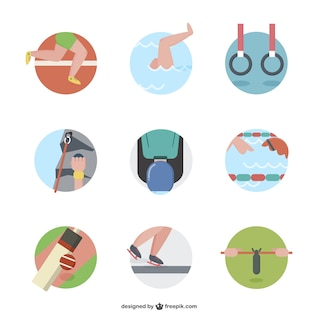 Cartoon sport icons pack