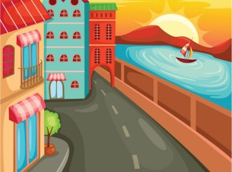 Cartoon street with buildings and sea. Coast.