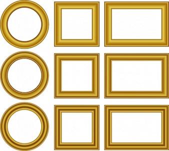 Cartoon wedding border design set frame golden