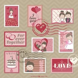 cartoon wedding cards vector