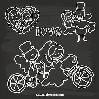Cartoon wedding invitation blackboard doodle