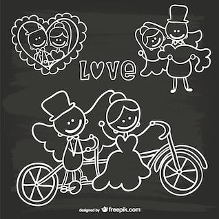 Cartoon wedding invitation blackboard doodle