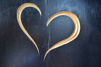 Carved heart in wood