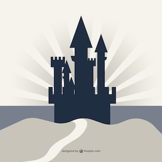 Castle silhouette on cliff vector background