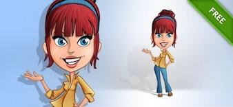 Casual girl redhead posing cartoon vector