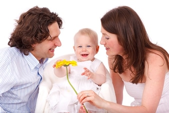 Caucasian baby family girl daughter child father