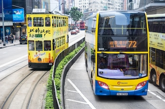 Central, Hong Kong-Jan.10,2016: Traffic scene. Tram in Hong Kong