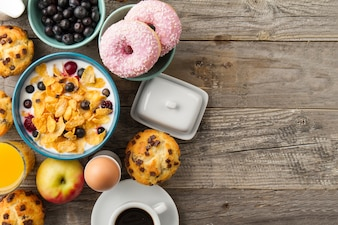 Cereals, cupcake and donuts