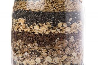 Cereals inside jar glass
