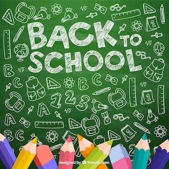 Chalk drawn bach to school