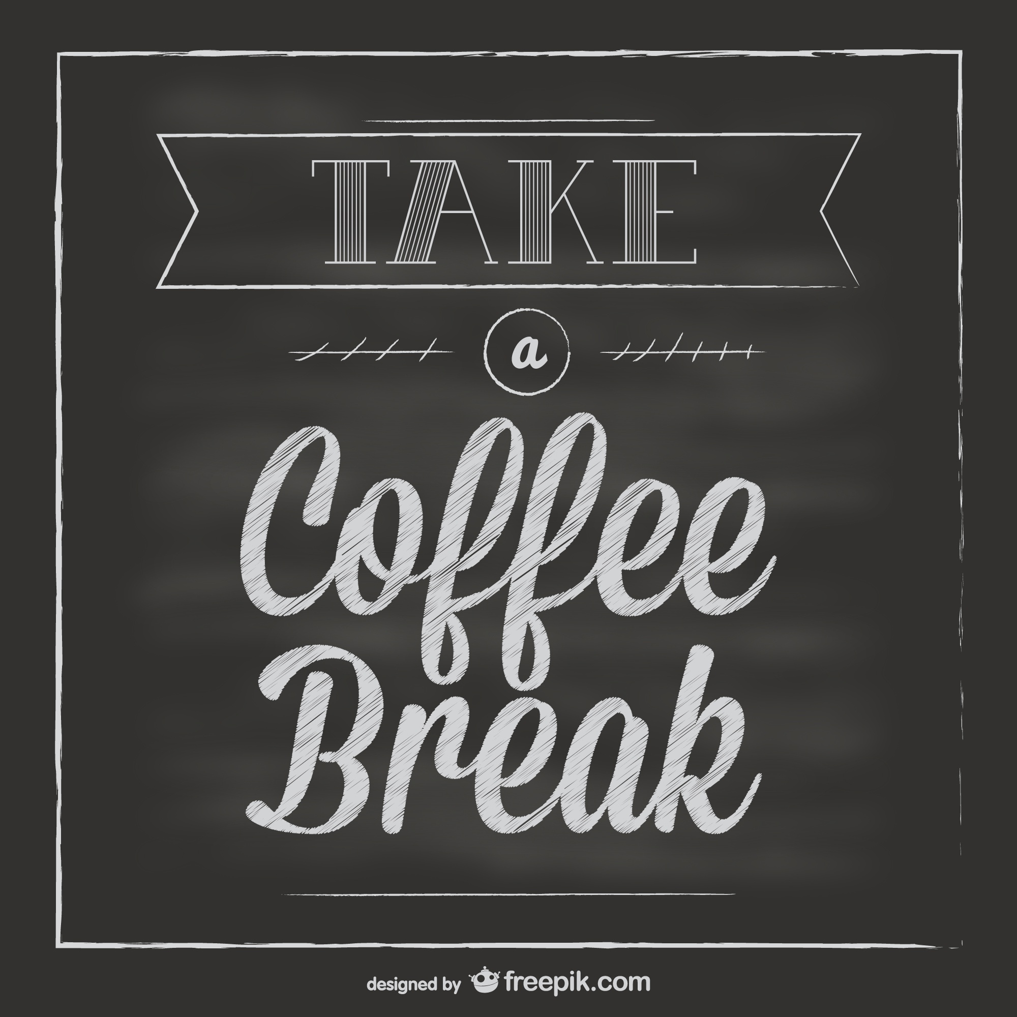 Chalkboard coffee break vector