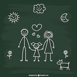 Chalkboard family drawing