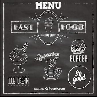 Chalkboard fast food menu