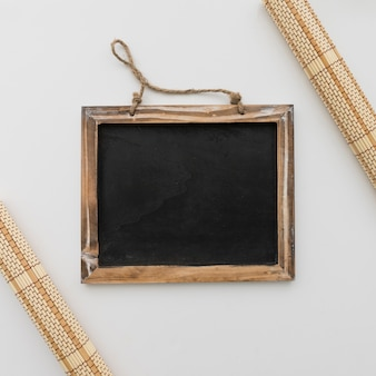 Chalkboard framed by table runners