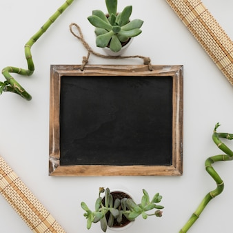 Chalkboard presentation with bamboo