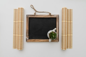 Chalkboard with flower pot
