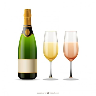 Champagne glasses and bottle