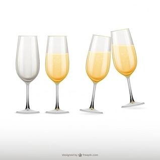Champagne glasses illustrations