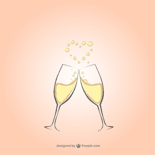 Champagne glasses with heart