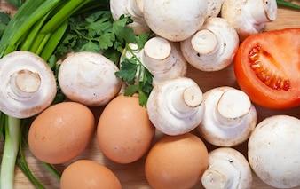 Champignon mushroom with eggs
