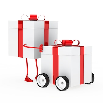 Character moving a present with wheels