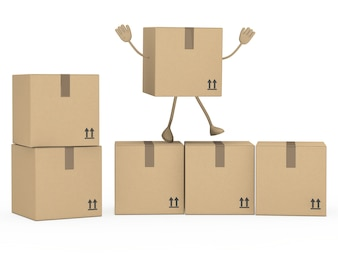 Character with raised arms above some boxes