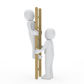 Characters working with a ladder
