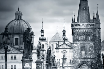 Charles Bridge and monuments in Prague.
