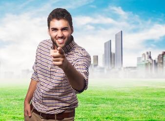 Cheerful arab on urban environment