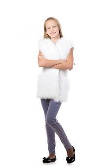 Cheerful student wearing an artificial fur vest