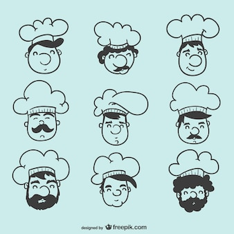 Chef heads vector collection