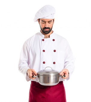 Chef holding a pot