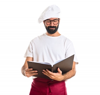 Chef reading book