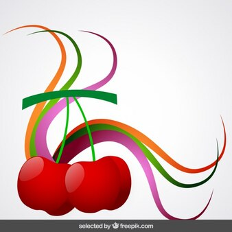 Cherries with colorful ornaments