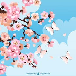 Cherry blossoms background with butterflies