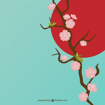 Cherry flowers illustration