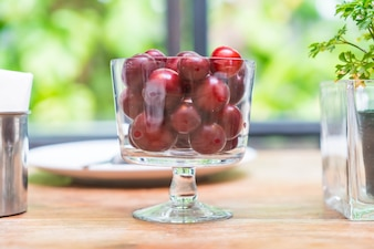Cherry in bowl on dinning table