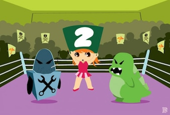 Chibi fight monsters on the ring vector