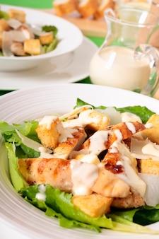 Chicken caesar salad with dressing