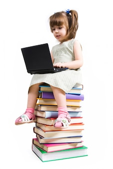 Child laptop typing pc pupil