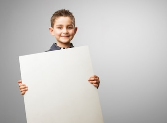 Child with a poster