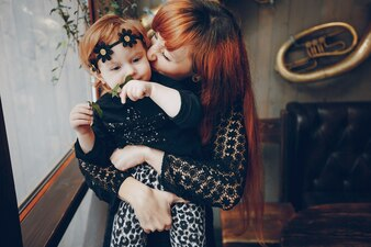 Childhood little mother mom care