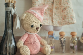 Childhood teddy retro white memorabilia