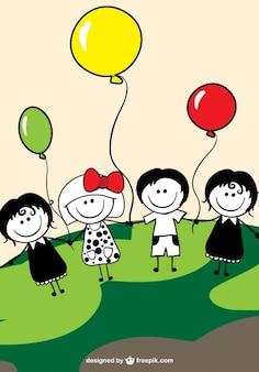 Children and balloons vector